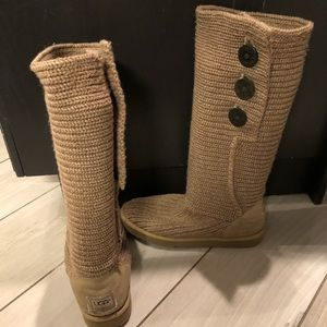UGG long sweater boots, camel colour size 10